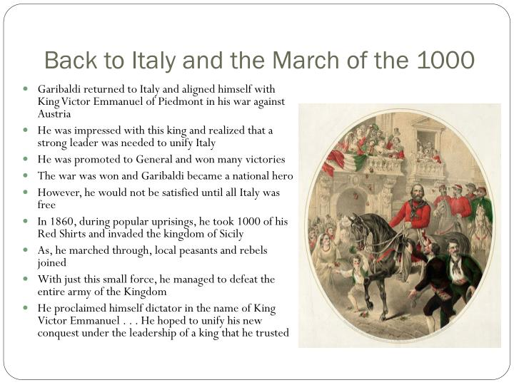 Back to Italy and the March of the 1000