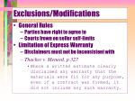 exclusions modifications