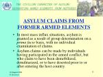 asylum claims from former armed elements