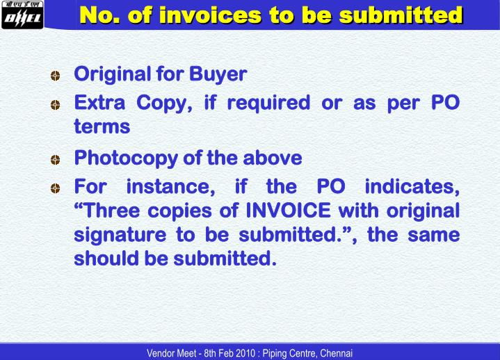 No. of invoices to be submitted