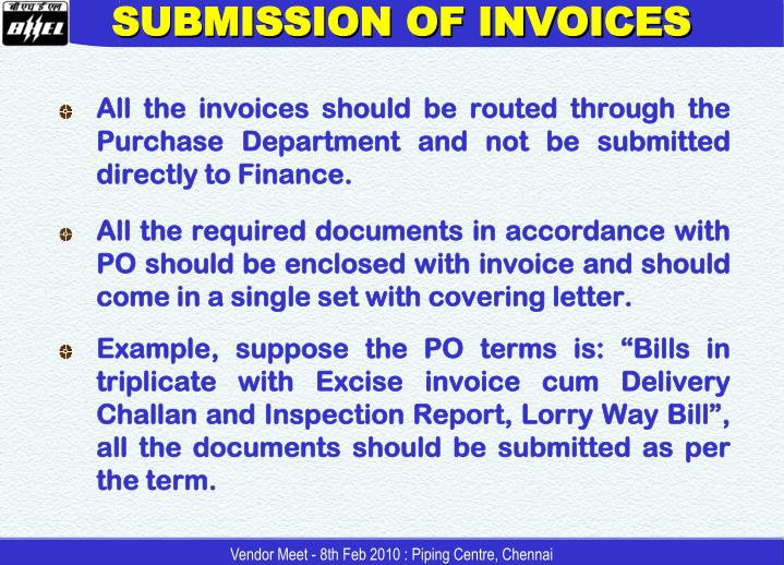SUBMISSION OF INVOICES