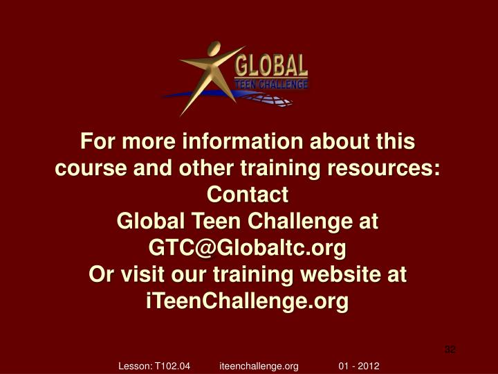 For more information about this course and other training resources: