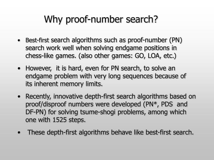 Why proof-number search?