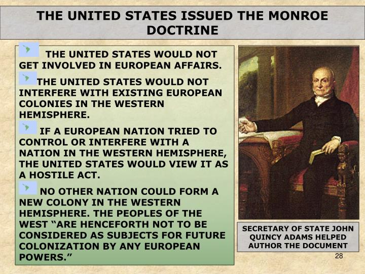 THE UNITED STATES ISSUED THE MONROE DOCTRINE