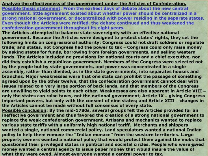 Analyze the effectiveness of the government under the Articles of Confederation.