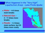 what happened in the very high liquefaction areas loma prieta quake