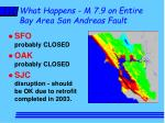 what happens m 7 9 on entire bay area san andreas fault