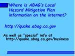 where is abag s local hazard mitigation plan information on the internet