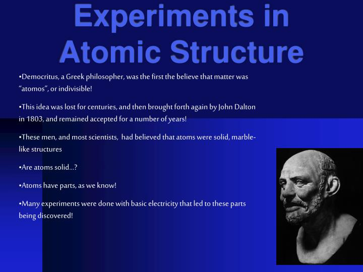 Experiments in atomic structure