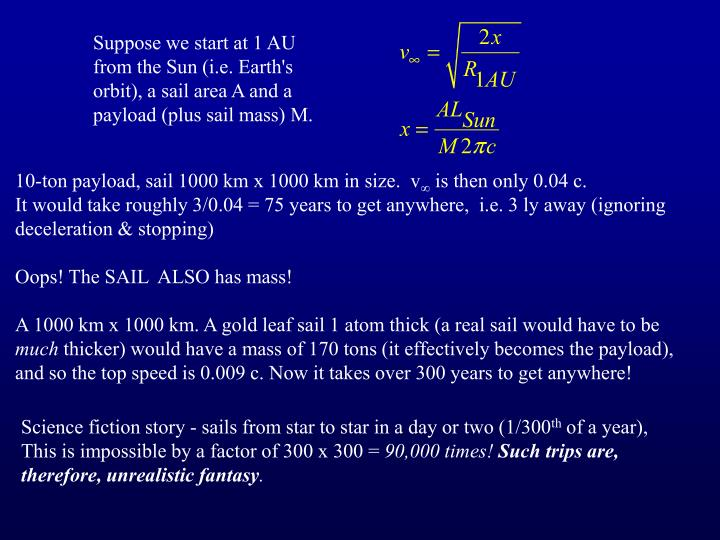 Suppose we start at 1 AU from the Sun (i.e. Earth's orbit), a sail area A and a payload (plus sail mass) M.