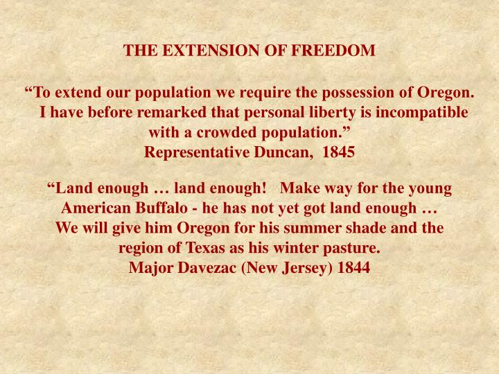 THE EXTENSION OF FREEDOM