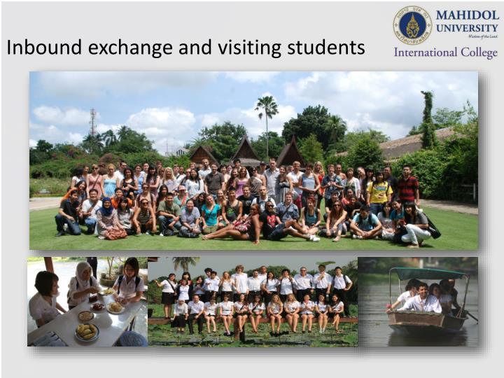 Inbound exchange and visiting students