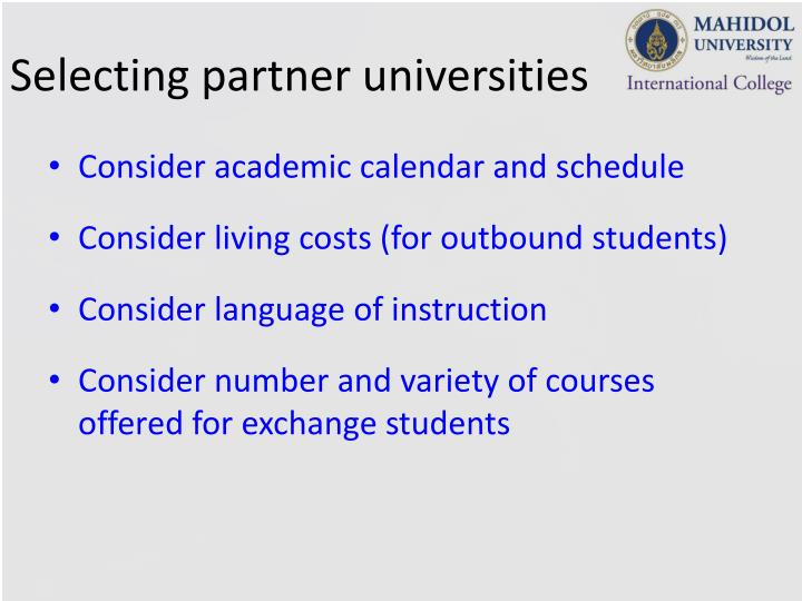 Selecting partner universities