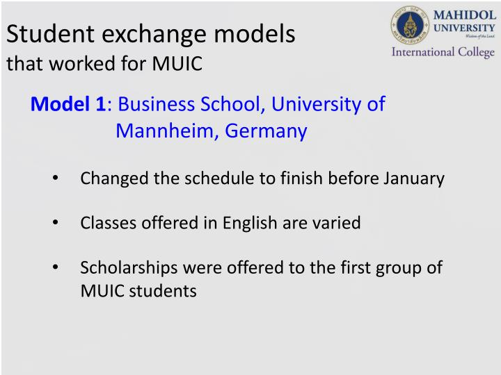 Student exchange models