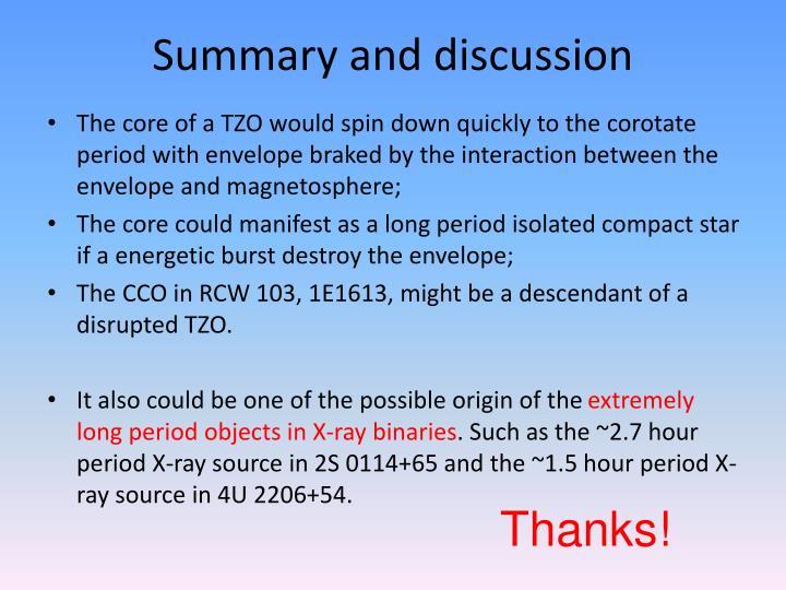Summary and discussion