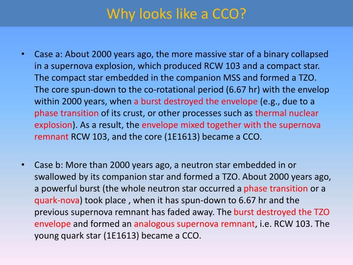 Why looks like a CCO?
