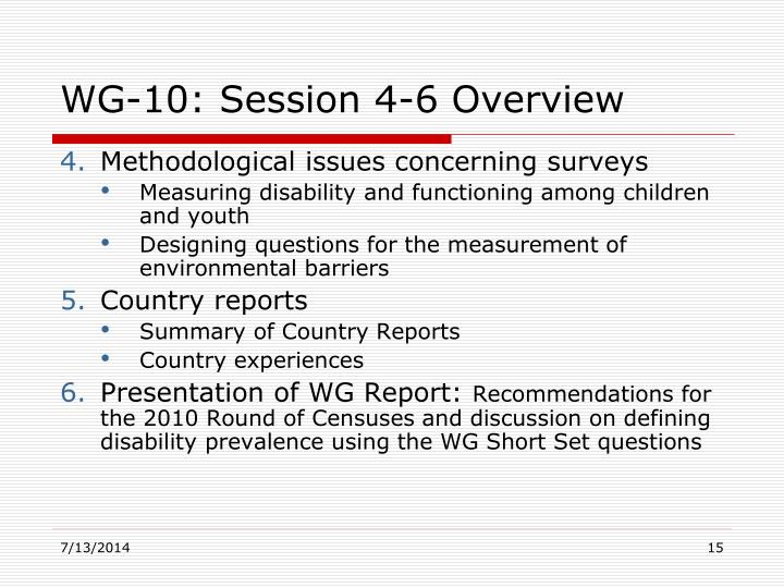 WG-10: Session 4-6 Overview