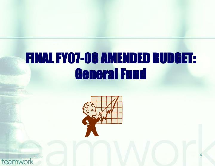 FINAL FY07-08 AMENDED BUDGET: