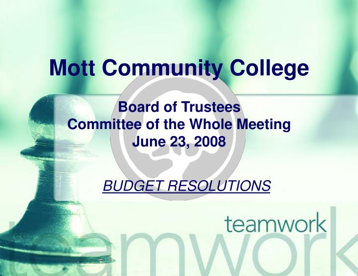 Mott community college board of trustees committee of the whole meeting june 23 2008
