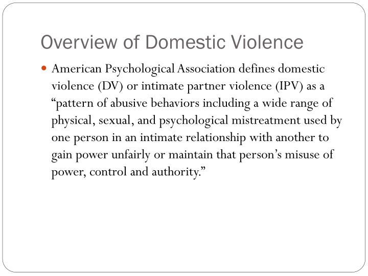 Overview of domestic violence