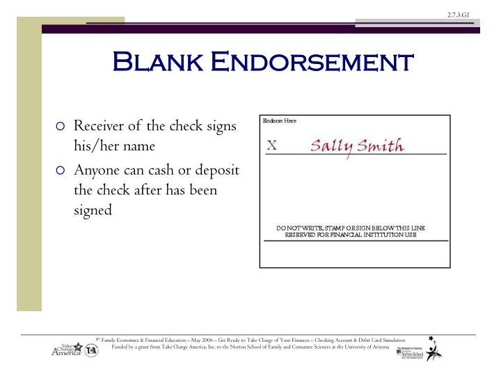 Blank Endorsement