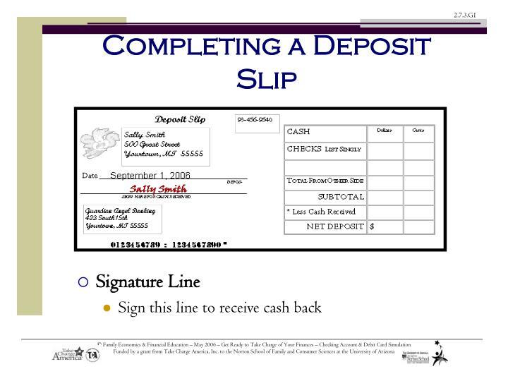 Completing a Deposit Slip