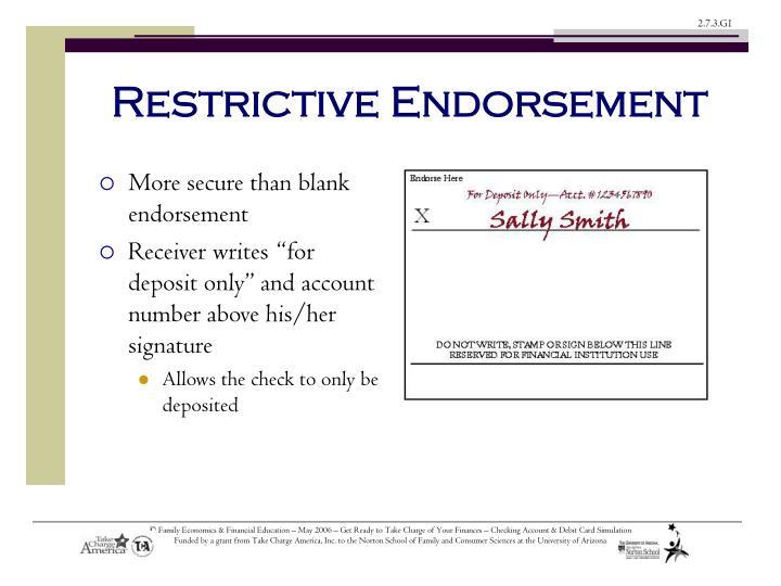 Restrictive Endorsement