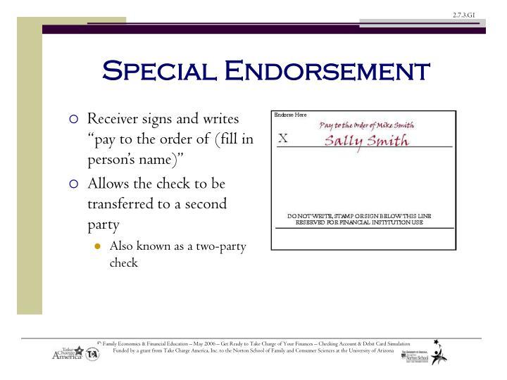 Special Endorsement