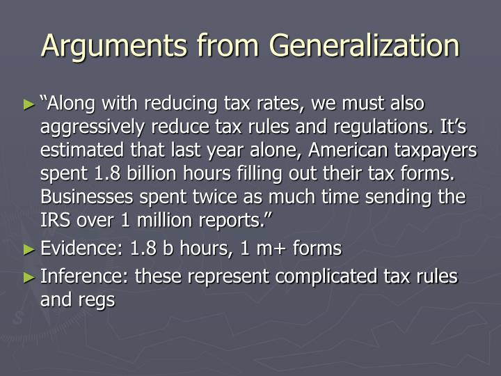 Arguments from Generalization