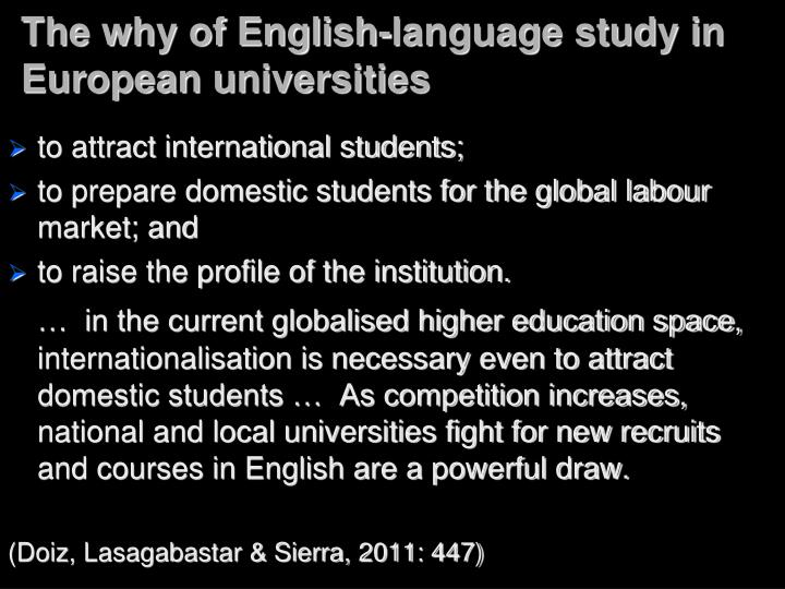 The why of English-language study in European universities