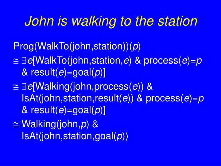 John is walking to the station