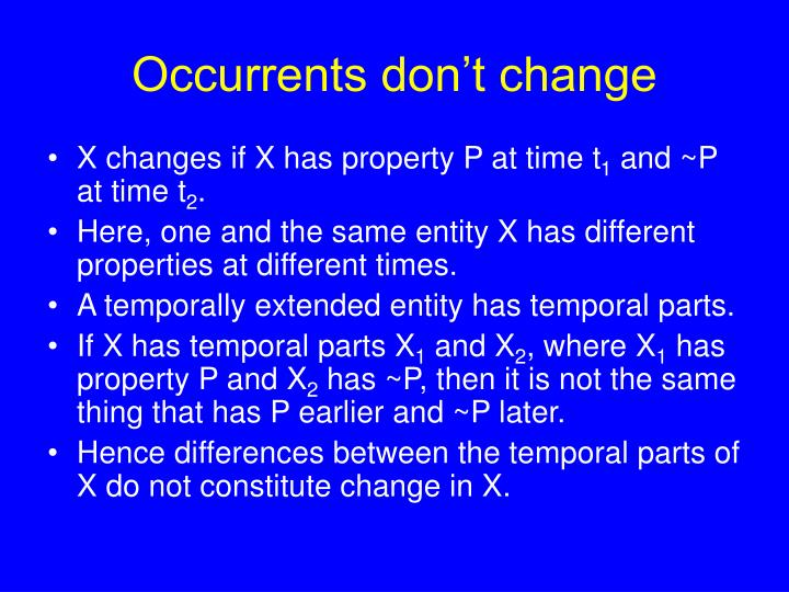 Occurrents don't change