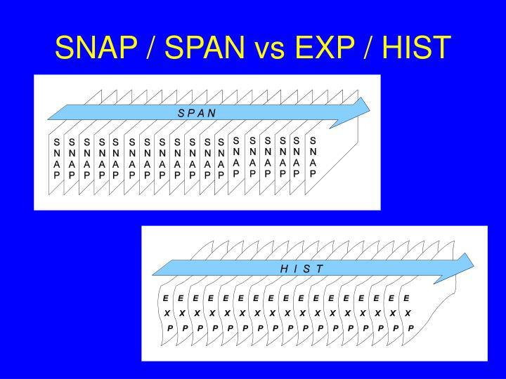 SNAP / SPAN vs EXP / HIST