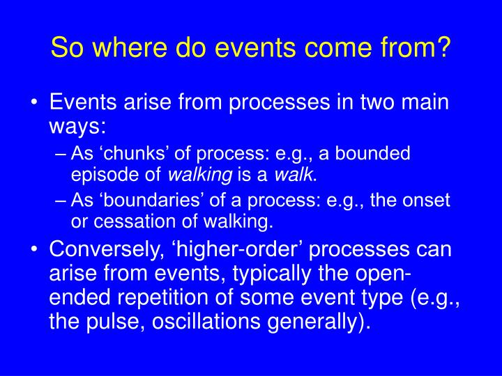 So where do events come from?