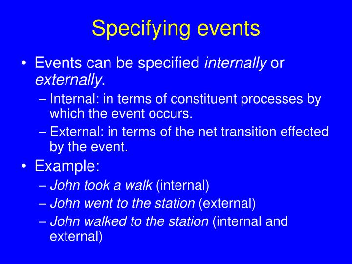 Specifying events