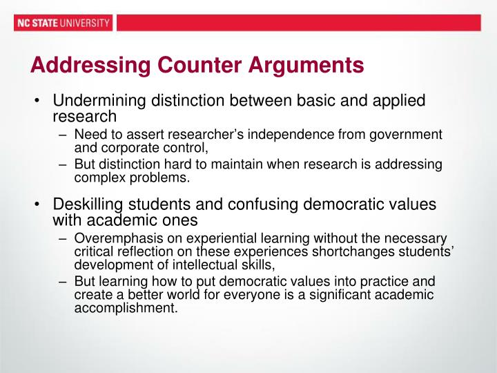 Addressing Counter Arguments