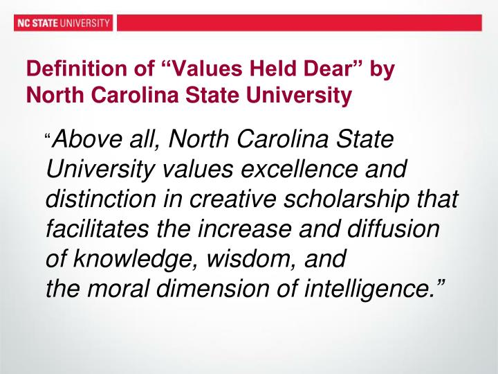 """Definition of """"Values Held Dear"""" by"""