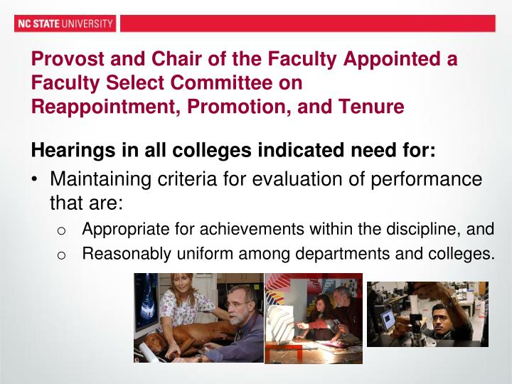 Provost and Chair of the Faculty Appointed a Faculty Select Committee on
