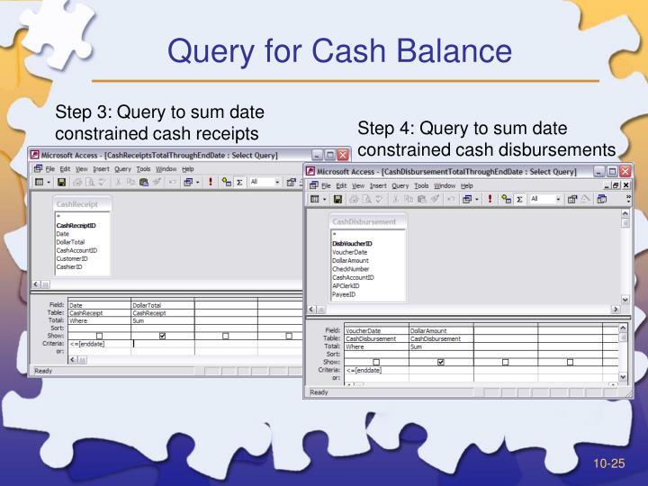 Query for Cash Balance