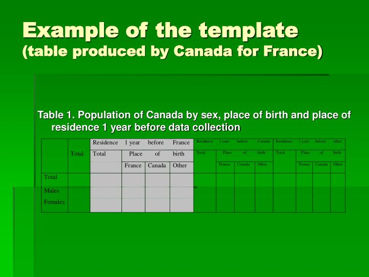 Example of the template