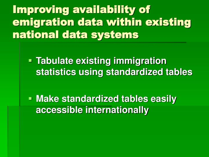 Improving availability of emigration data within existing national data systems