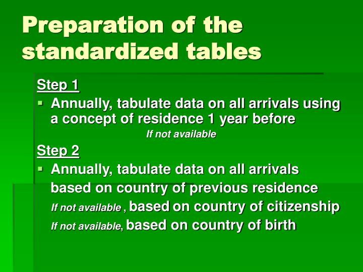 Preparation of the standardized tables