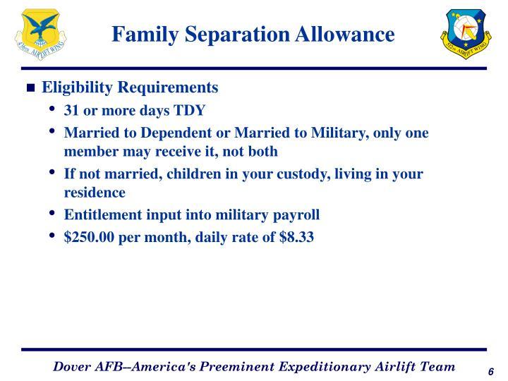 Family Separation Allowance