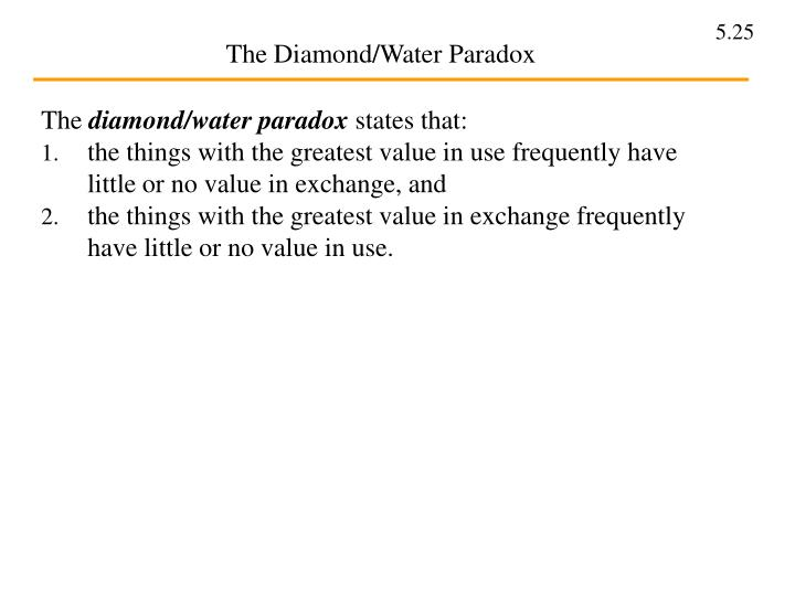 what is the diamond water paradox