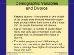 demographic variables and divorce