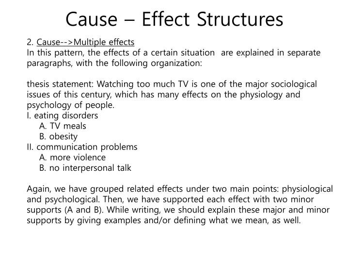 single cause multiple effect Cause and effect is an important skill for writing examples of cause and effect: there is only one cause, but there are many effects.