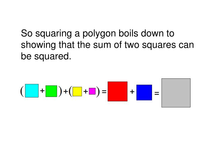 So squaring a polygon boils down to showing that the sum of two squares can be squared.