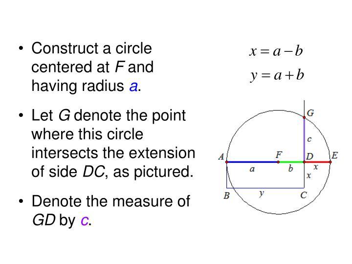 Construct a circle centered at