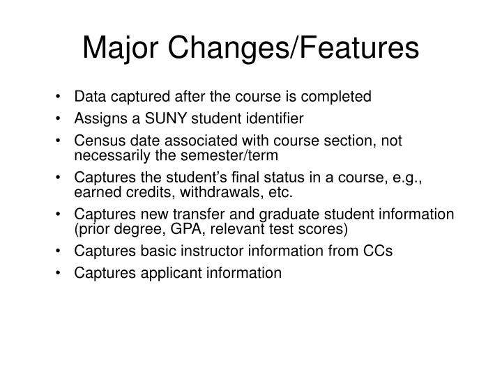Major Changes/Features