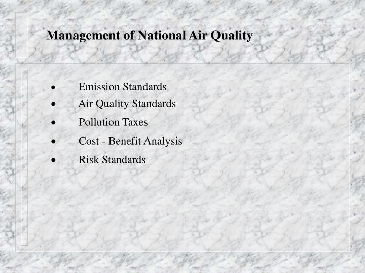management of national air quality n.